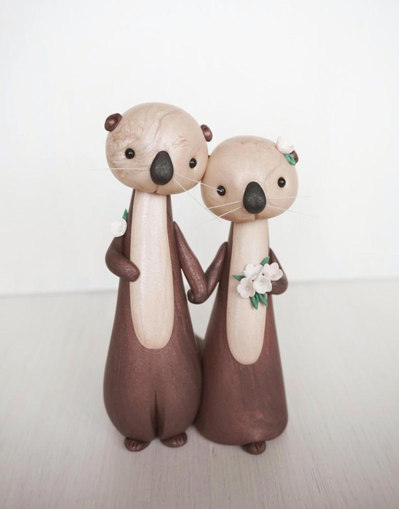 Sea otter wedding cake topper