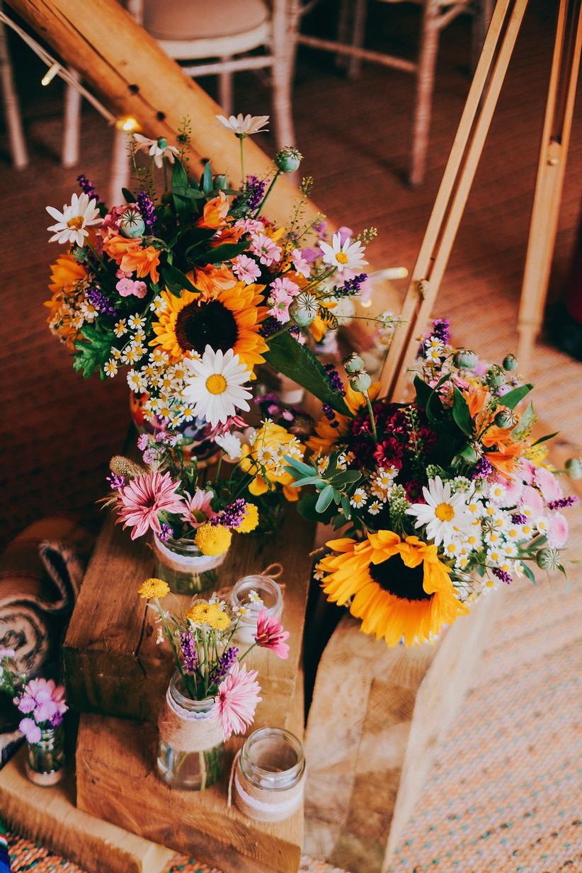 Brightly coloured wedding flowers