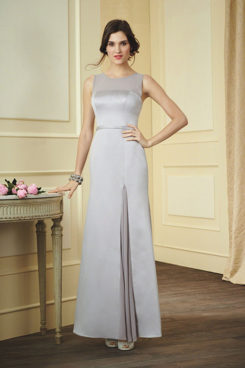 silver-winter-bridesmaid-dress-from-alfred-angelo-that-has-a-sleek-sophisticated-shape