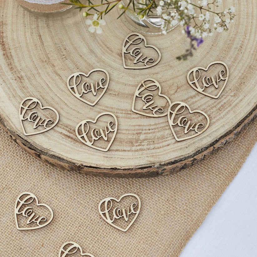 wooden table confetti