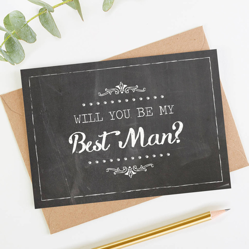 Chalkboard style card with the title will you be my best man