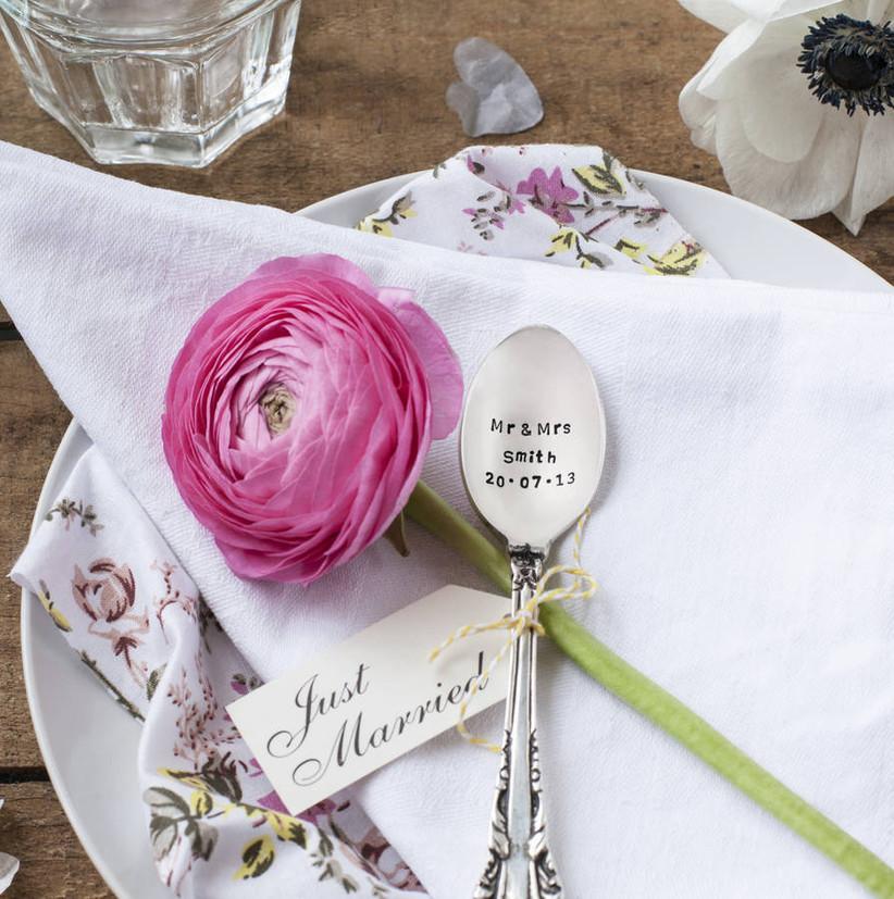 Personalised teaspoon tied to a single flower