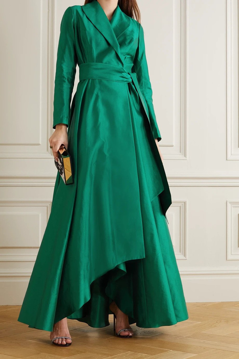 Emerald green maxi dress with long sleeves
