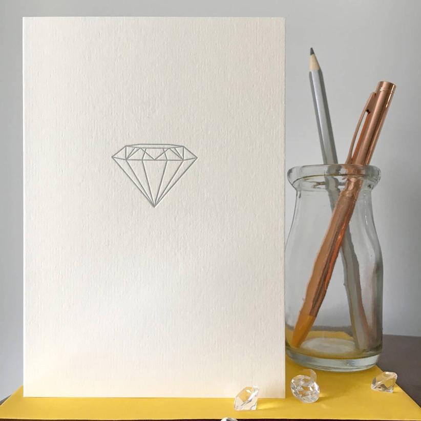 Simple 60th wedding anniversary diamond card