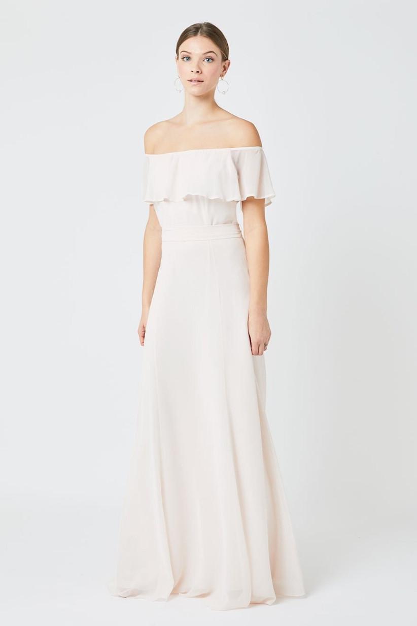 Model off the shoulder white bridesmaid dress