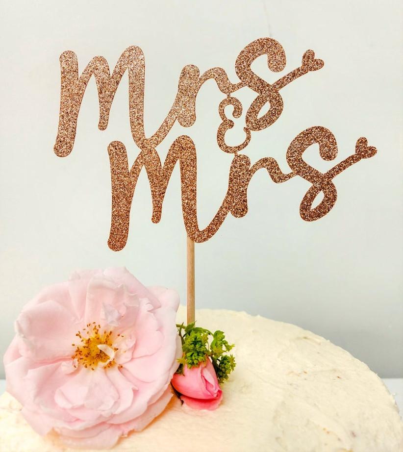 Rose gold glitter Mrs & Mrs wedding cake topper