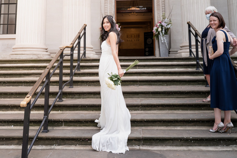 Bride outside Old Marylebone Town Hall