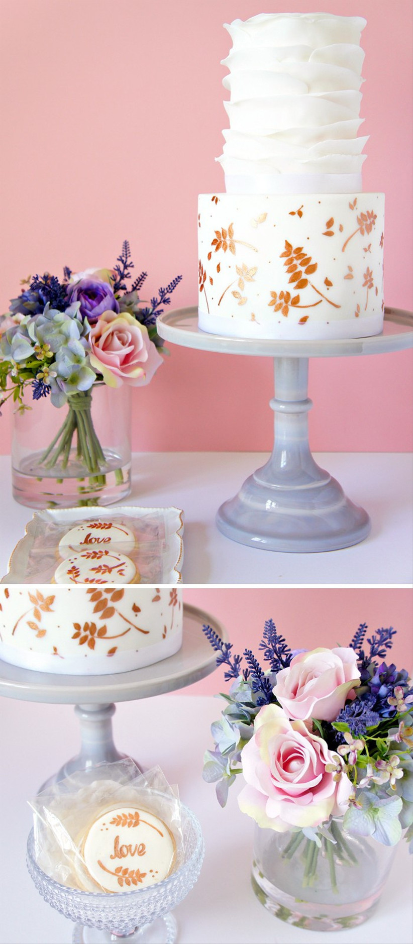 metallic-cake-display