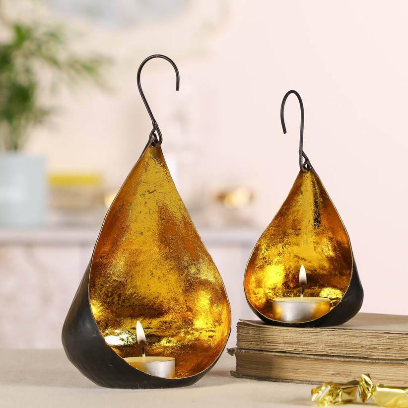 Gold iron tealight holders