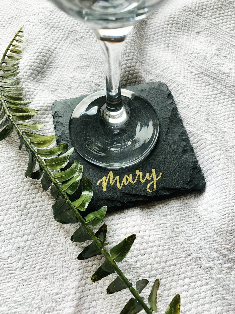 Personalised name slate coaster with a wine glass and fern sprig