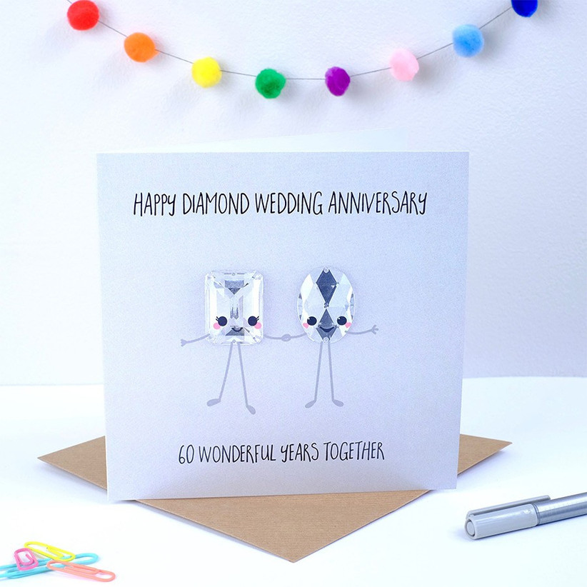 60th wedding anniversary card with diamond gems