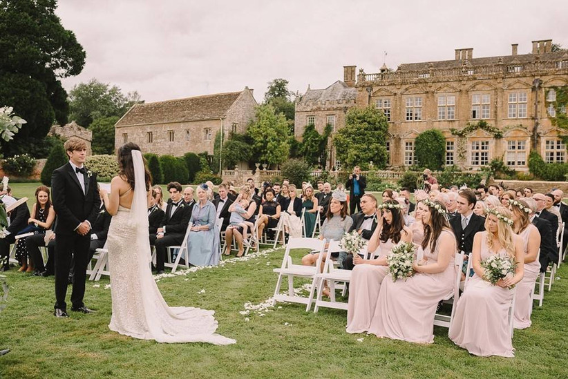 Outside ceremony by a castle