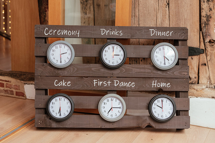 Wooden sign with clocks on showing what time each part of the wedding is happening