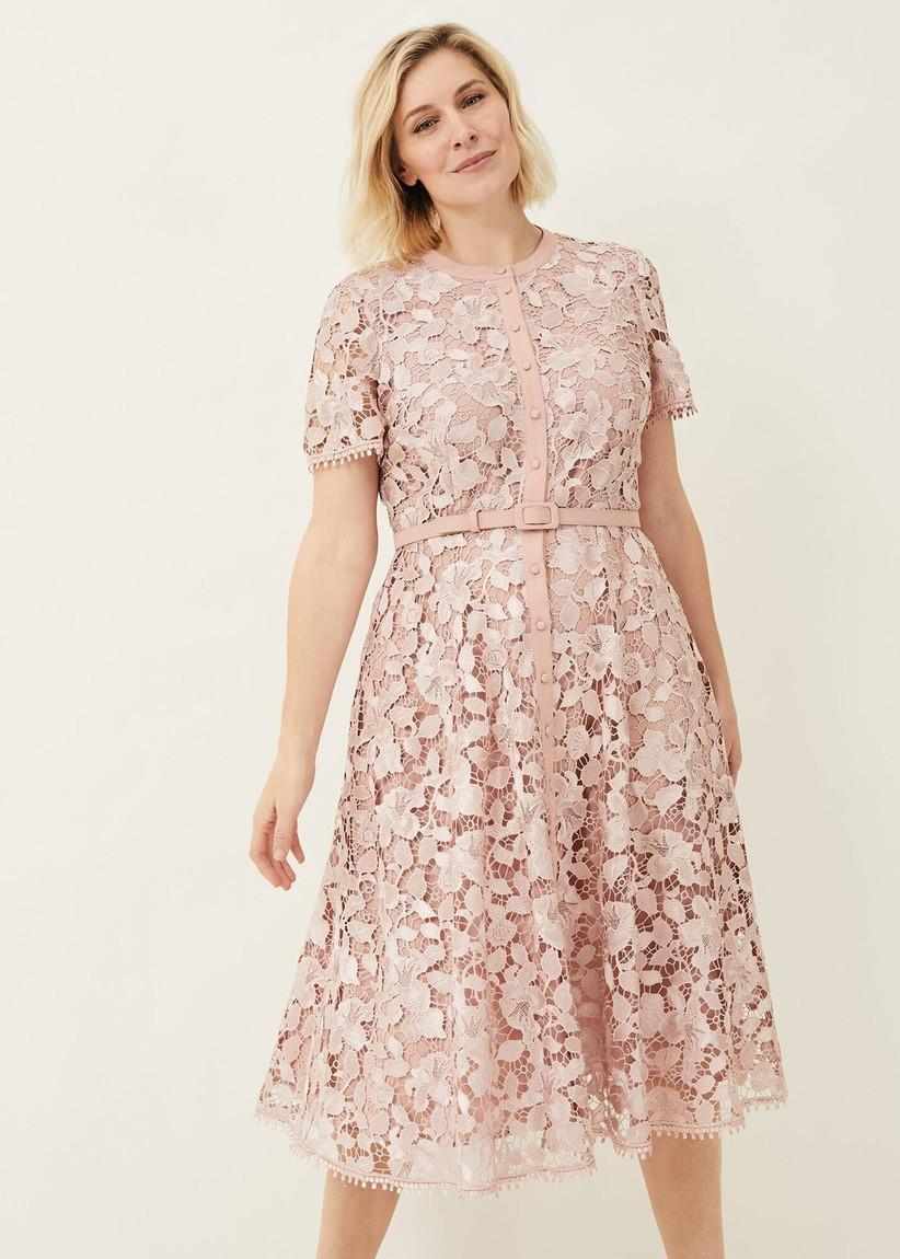 Pink lace shirt dress