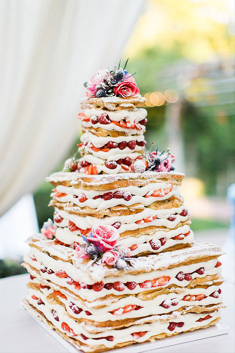 Square waffle rustic wedding cake with buttercream and strawberries
