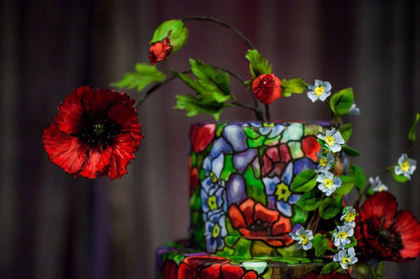 close-up-of-detailing-on-stained-glass-disney-beauty-and-the-beast-wedding-cake