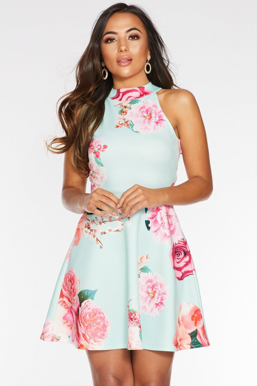 Quiz-petite-mint-and-pink-floral-halterneck-skater-dress
