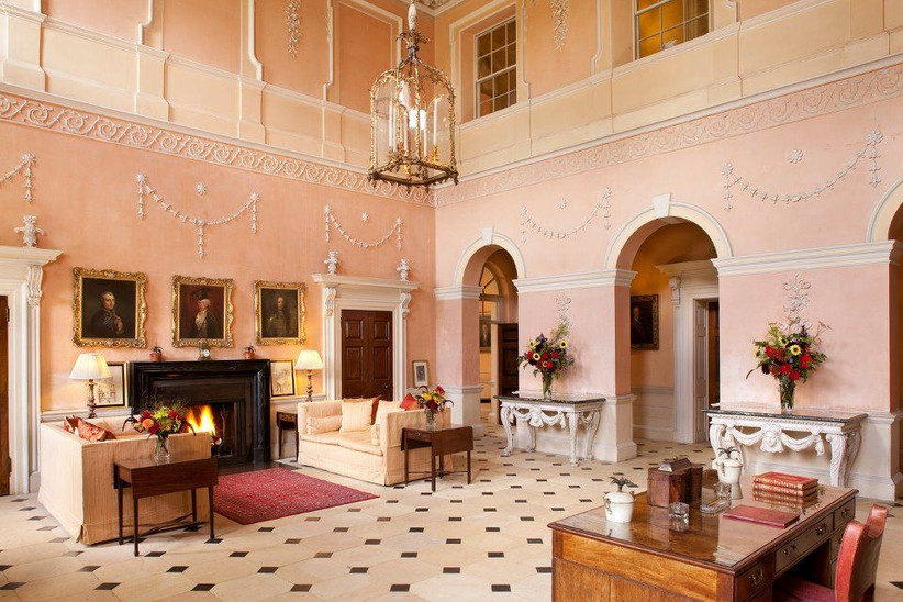 Northamptonshire wedding venue Kelmarsh Hall interior with pink walls
