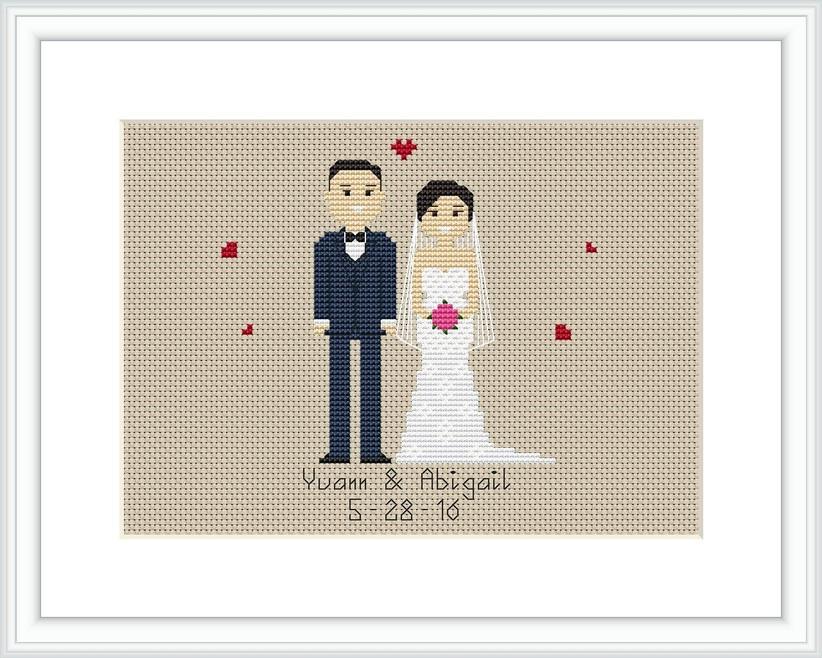 Bride and groom cross-stitch