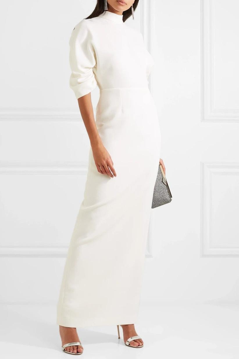 Plain white wedding dress for an older bride