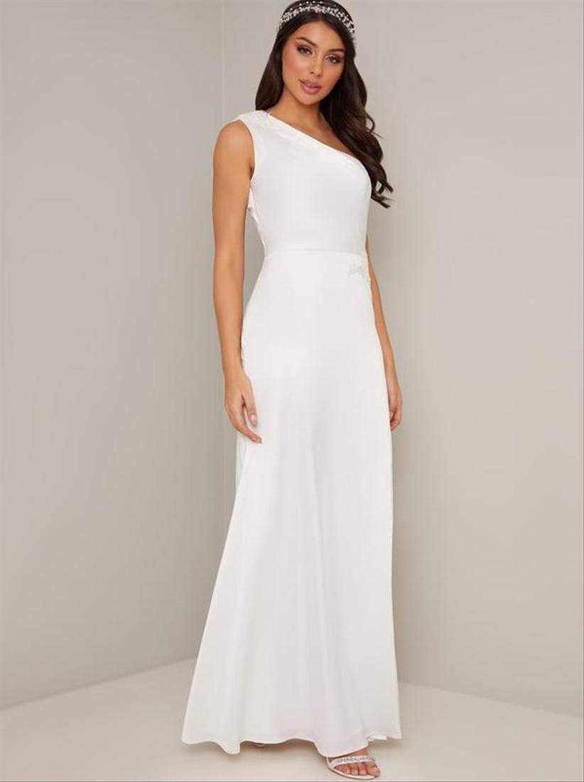 Girl wearing a one shoulder white wedding dress