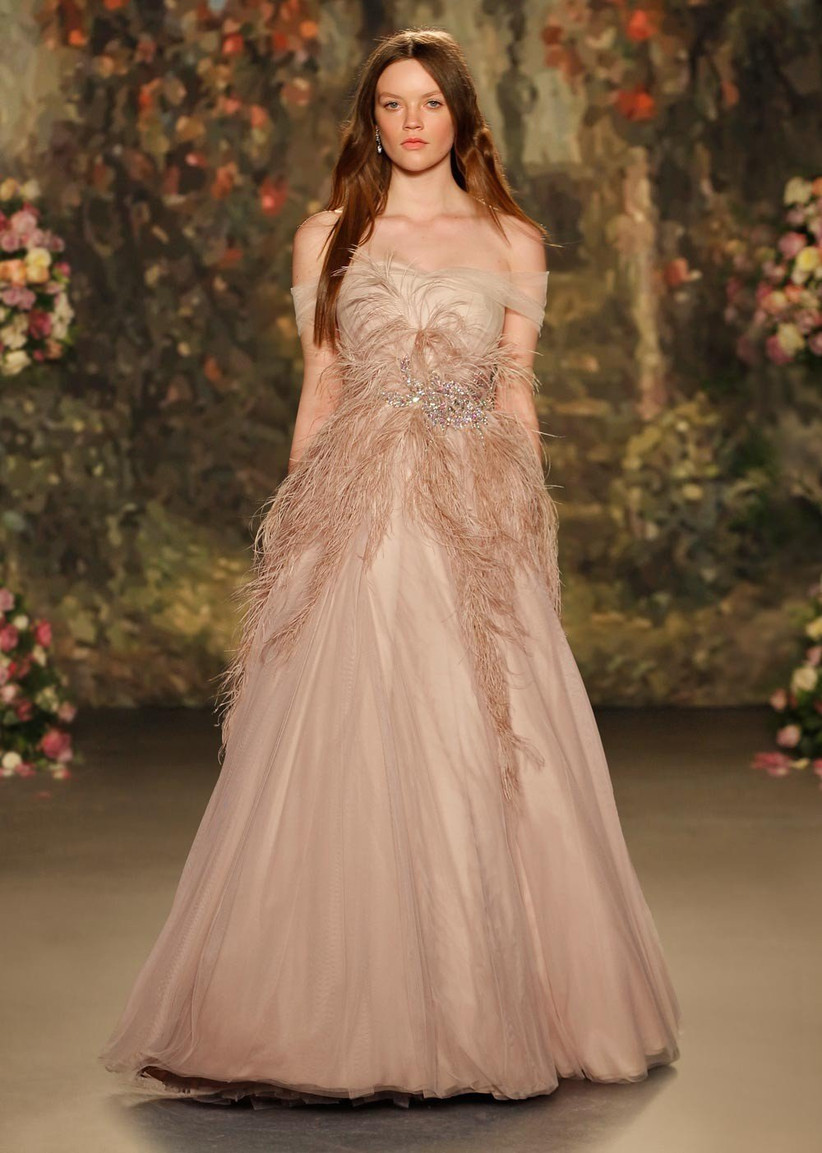 rose-gold-coloured-wedding-dress-with-ostrich-feather-detail