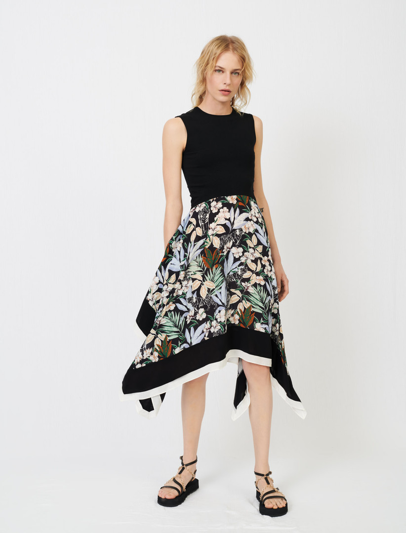 Dress with black sleeveless bodice and floral skirt