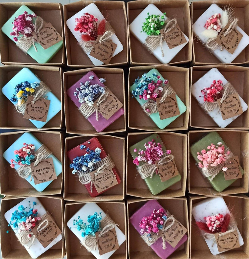 Dried flower soaps