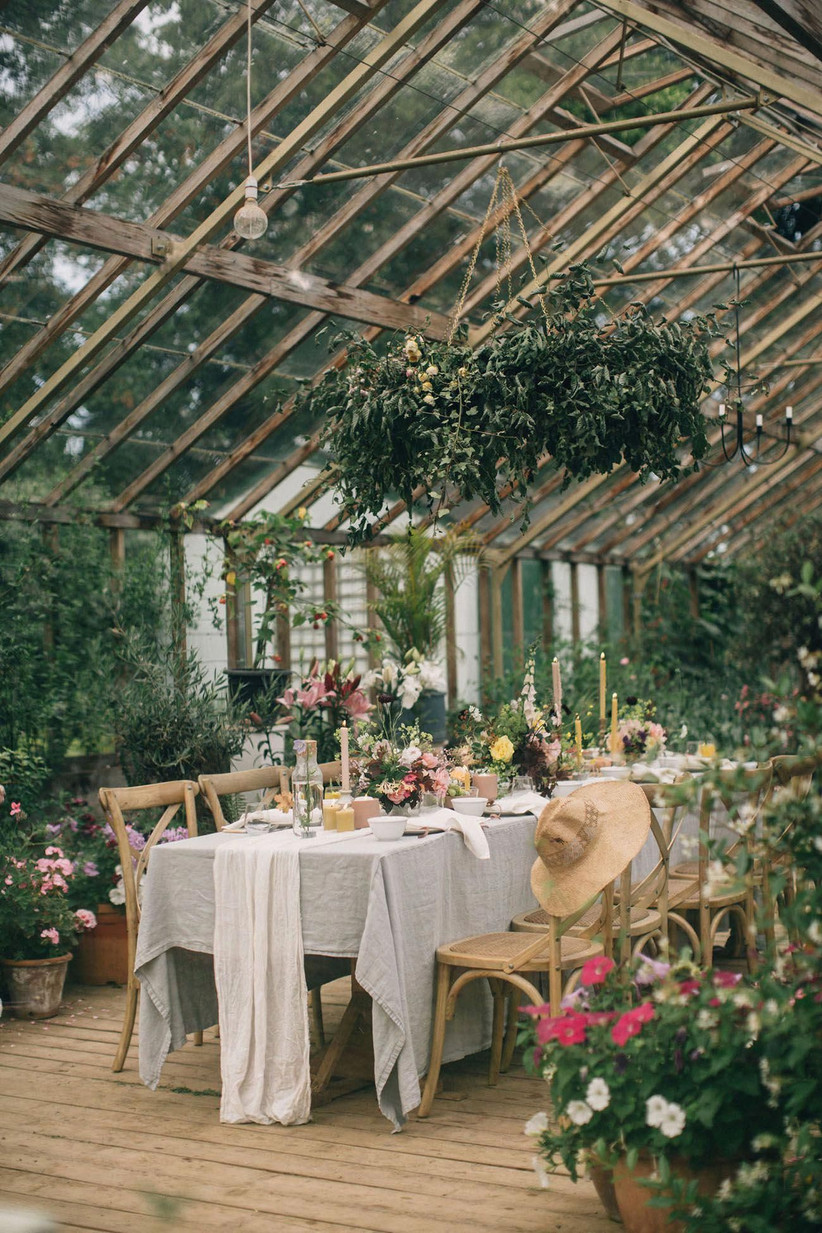 Intimate garden wedding setting