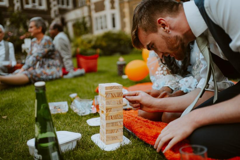 Wedding guest playing jenga