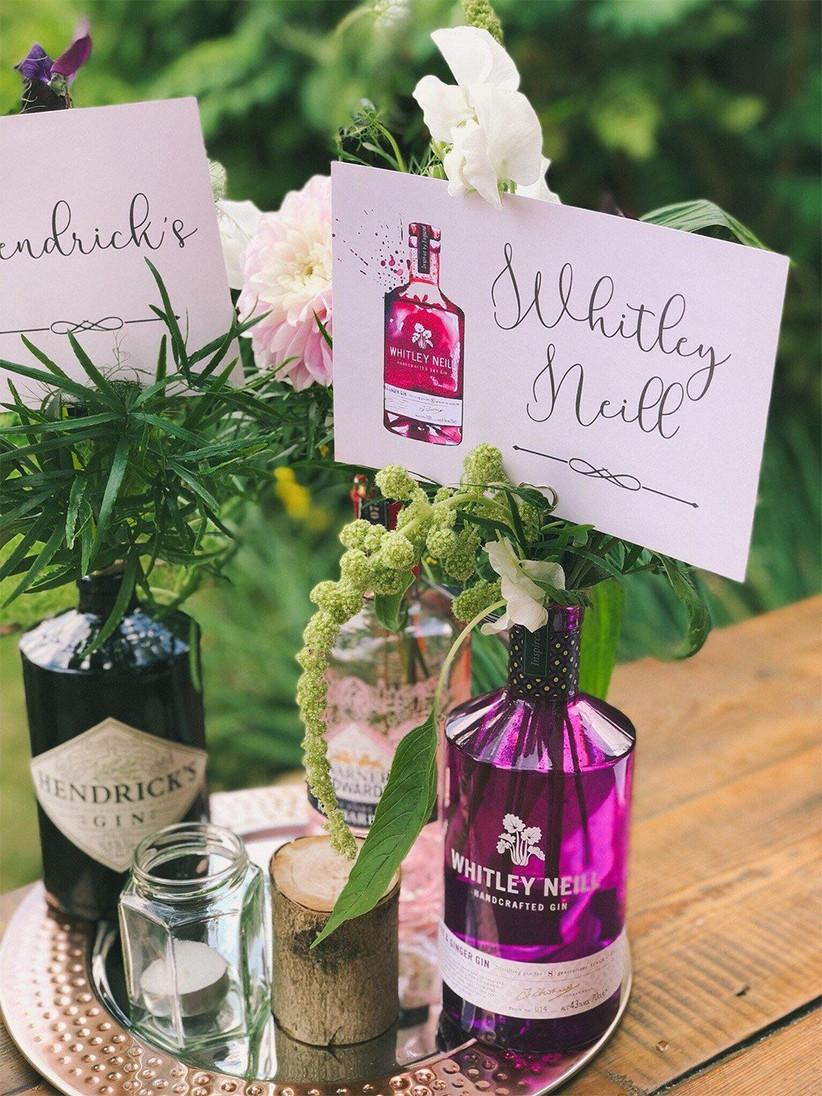 DIY gin bottle centrepieces