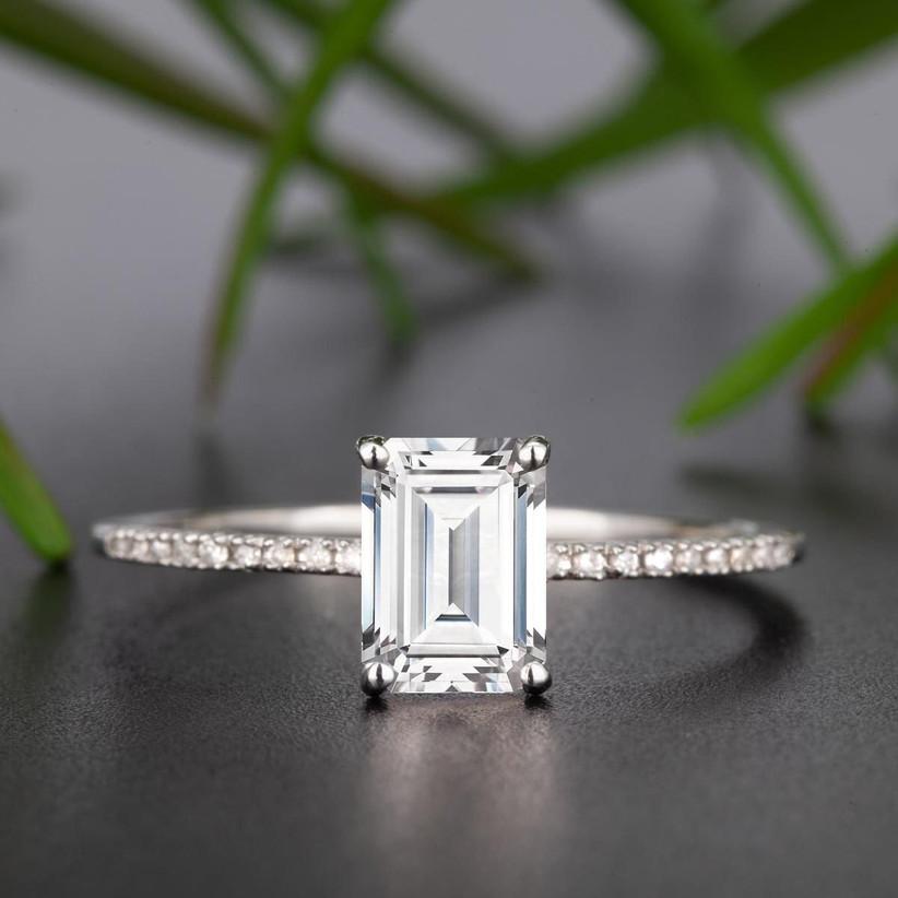 Emerald cut budget ring