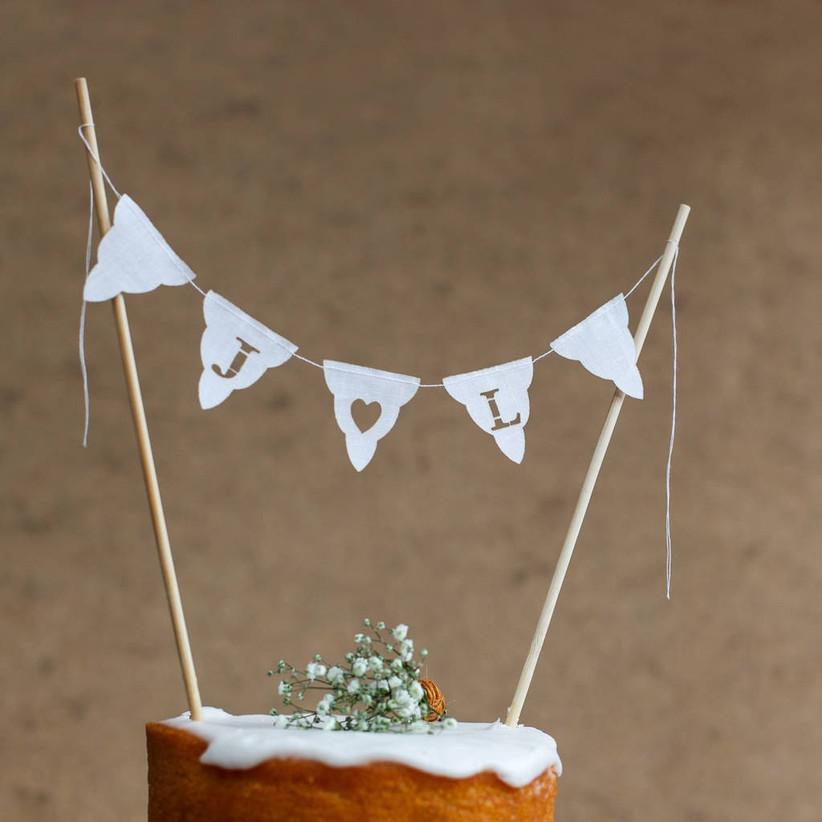 Bunting wedding cake topper