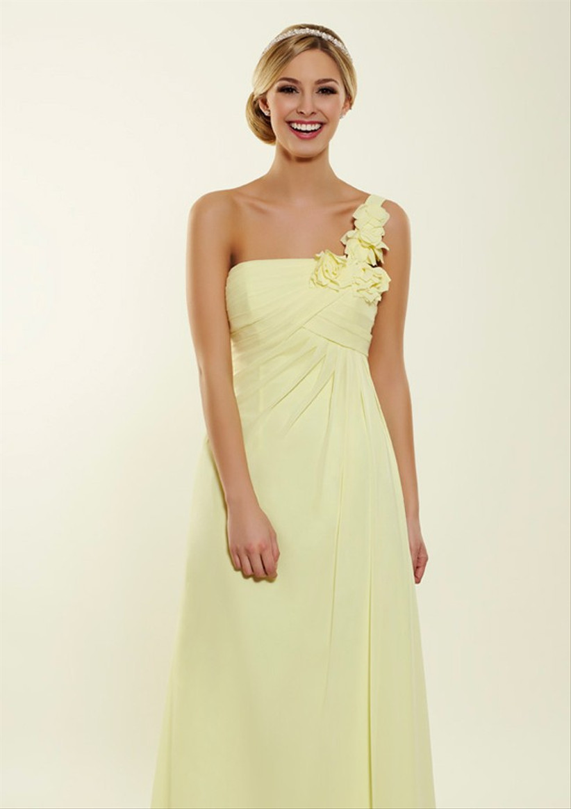 this-lemon-one-shoulder-bridesmaid-dress-from-bridesmaids-by-romantica-has-pretty-floral-detail-on-the-shoulder
