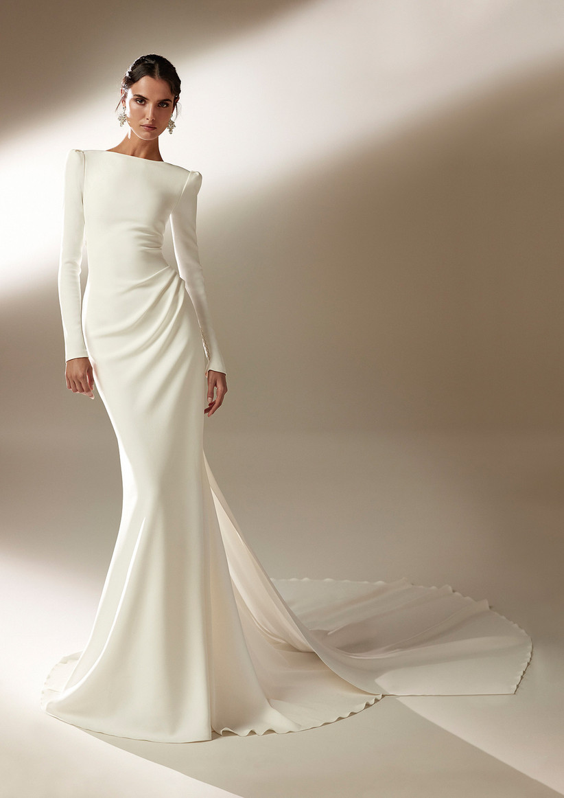 White long sleeve wedding dress for older brides