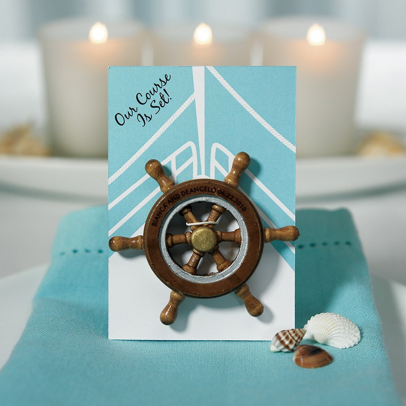 Boat wheel magnet wedding favour
