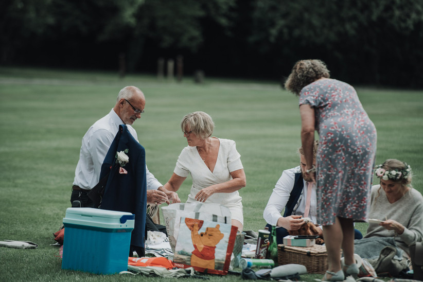 The couple's parents set up a picnic in the gardens