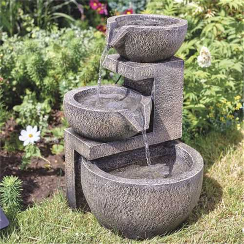 Rustic three tiered water fountain