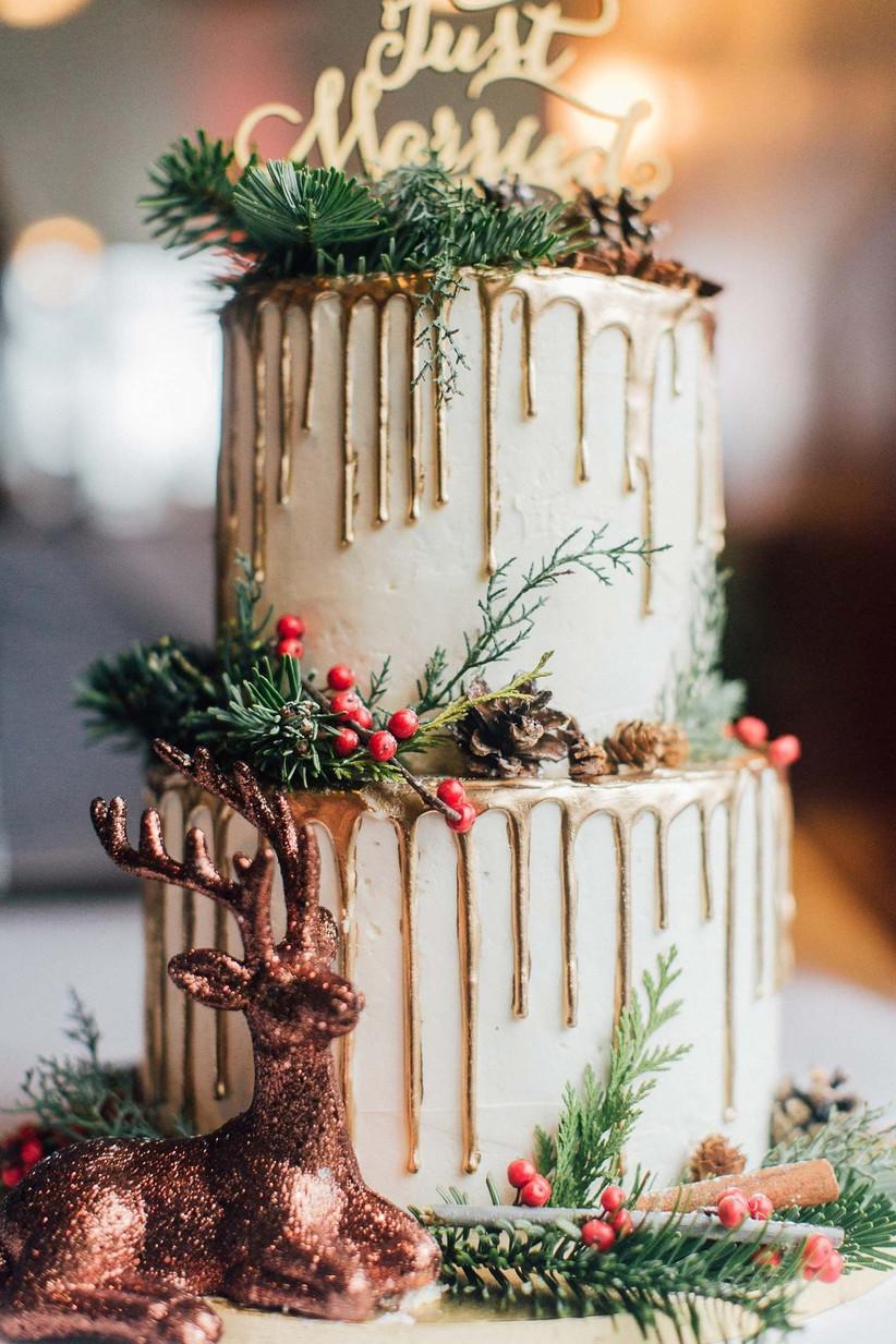 winter wedding cake metallic