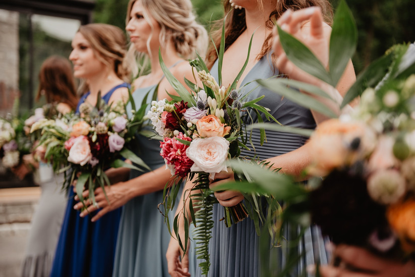 Bridesmaids in mis-matched dresses