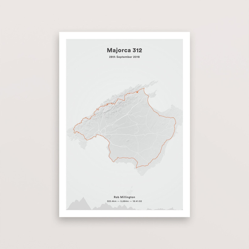 A personalised cycle route print tracking a ride around the island of Majorca in orange on a grey background