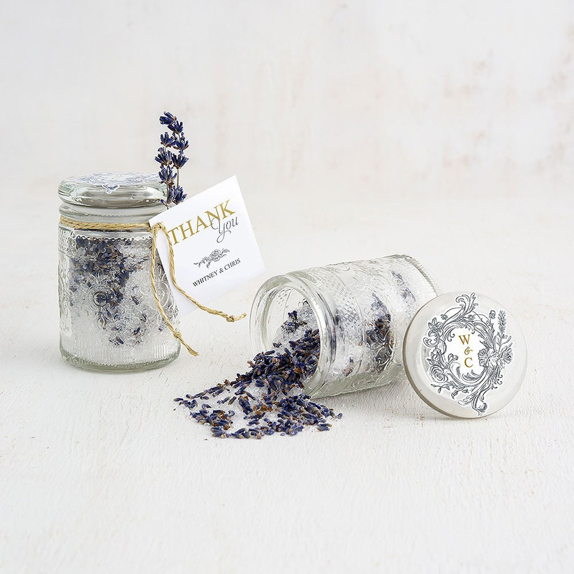Mason jars filled with sugar and lavender