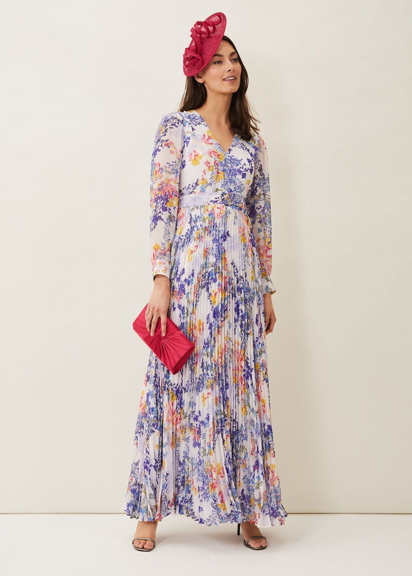 Multi-coloured maxi dress with long sleeves and a pleated skirt