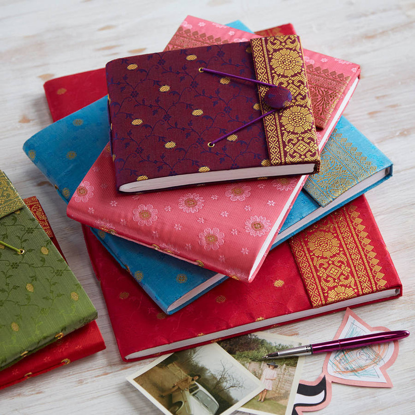 Brightly coloured photo albums