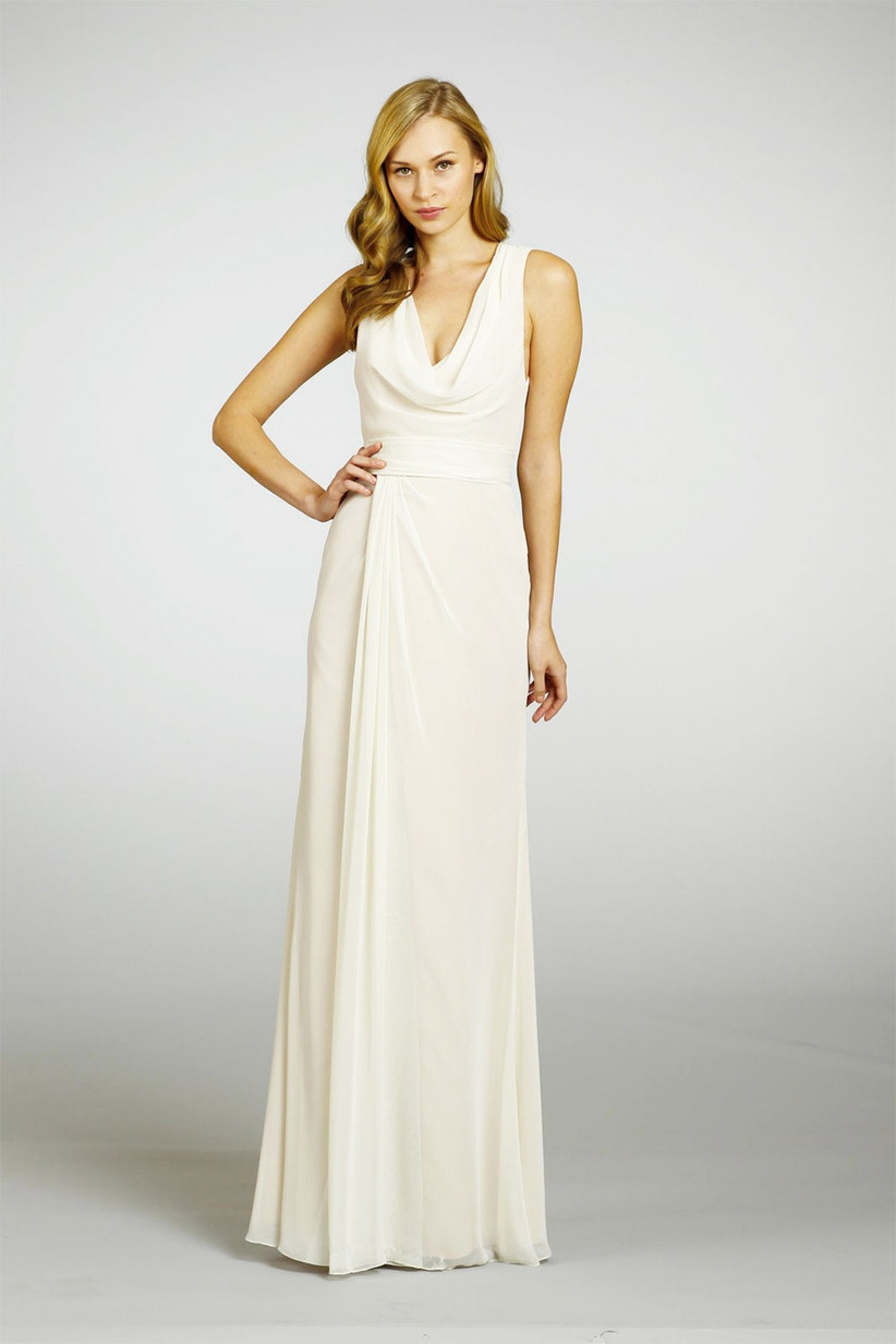 white-winter-bridesmaid-dress-from-jim-hjelm-occasions-that-has-an-elegant-cowl-neck-but-is-minimalistic-so-it-doesnt-overshadow-the-brides-dress