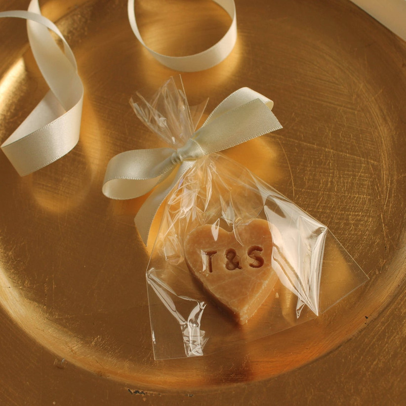 Heart shaped initial stamped fudge