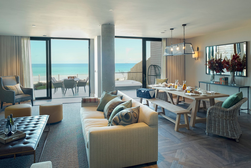 Carbis Bay beach lodge living room