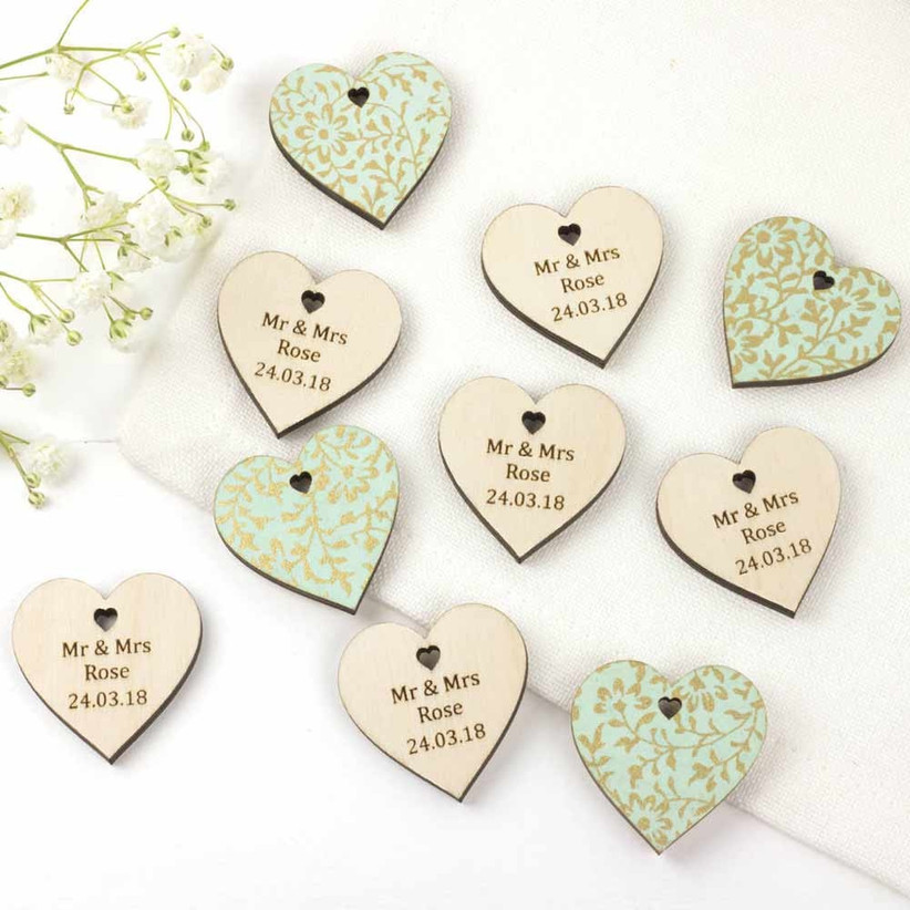Personalised wedding wooden hearts