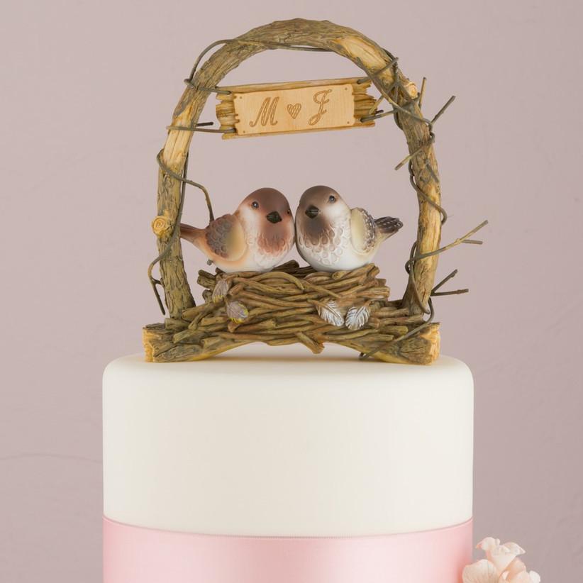 Birds in a nest wedding cake topper