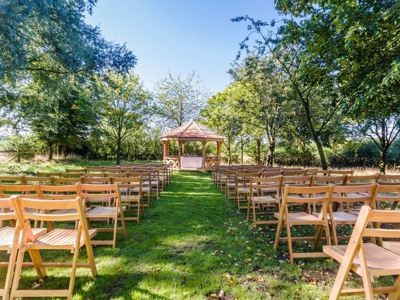 Outdoor ceremony set-up at Northamptonshire wedding venue Crockwell Farm